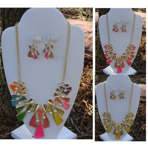 Multi-Color Twist bib necklace and Earrings